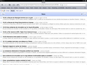 Google Reader sur tablette tactile