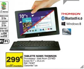 L'hybride Windows 8.1/Android Thomson THBK1 arrive chez Auchan pour 299€