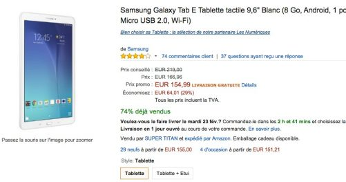 Galaxy tab e en promotion chez Amazon