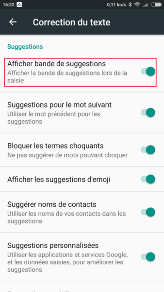 Android suggestions clavier